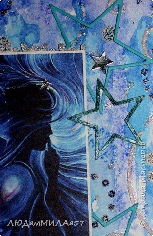 Здравствуйте,дорогие жители СМ!Поздравляю Вас с Днём знаний и желаю всем огромных творческих успехов,ведь все мы вечные ученики в нашей большой и дружной Стране!После синего монохрома у меня засела в голове идея открытки на космическую тему и вот я её воплотила в жизнь как она мне виделась и как я смогла и сумела сделать. фото 10