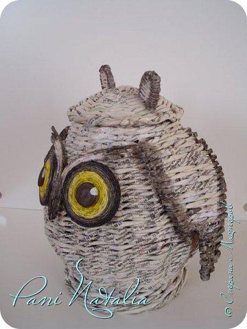 Привет всем гостям, заглянувшим на мою страничку!!! Сповторюшничала вот такую сову. Плела трубочками из журналов и буковки специально не стала закрашивать фото 3