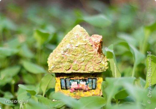 Микро дом для микро феи. Размер жилища всего 4*6 см. Как и в любом доме, в этом есть дверь, окно и даже цветочные горшки с цветами. фото 2
