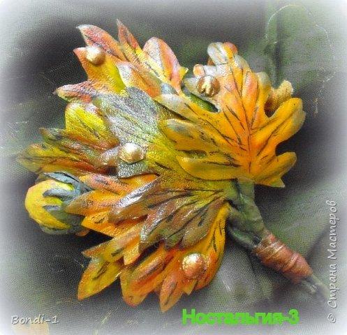 """Вот... такая кленовая веточка у меня сотворилась. Кленовые листья, которые мне страшно нравятся... разноцветные и изумительно красивые осенью. У нас таких кленов нет  (впрочем, так же как и осени))) Отсюда и название веточки """"Ностальгия"""". Сделана конкретно для моей любимой рыжей жилетки """"вестерн"""", вот так и сфотографировала с шейным платком...как должно носиться)))  фото 3"""