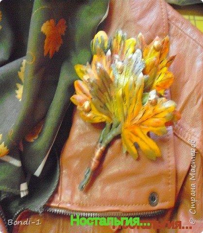 """Вот... такая кленовая веточка у меня сотворилась. Кленовые листья, которые мне страшно нравятся... разноцветные и изумительно красивые осенью. У нас таких кленов нет  (впрочем, так же как и осени))) Отсюда и название веточки """"Ностальгия"""". Сделана конкретно для моей любимой рыжей жилетки """"вестерн"""", вот так и сфотографировала с шейным платком...как должно носиться)))  фото 1"""