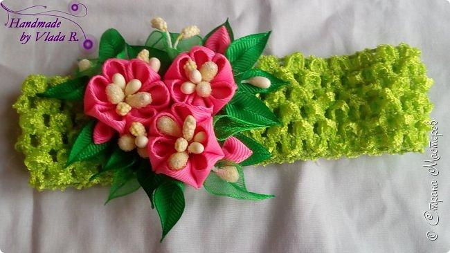 Привет)  Сегодня делюсь очередными работами, надеюсь не заскучаете) Начнем с ажурной повязки с декором из репса) фото 1
