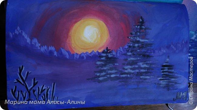 "Начнём с рисунков. ""Зимний вечер"" гуашь фото 2"