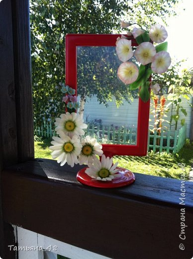 Привет всем!!!! Выставляю на ваш суд мое произведение в виде декора рамки...  Подарок для подруги....Вот устроила на даче фотосессию. Первая фото удачная получилась... с лучами солнышка... фото 5