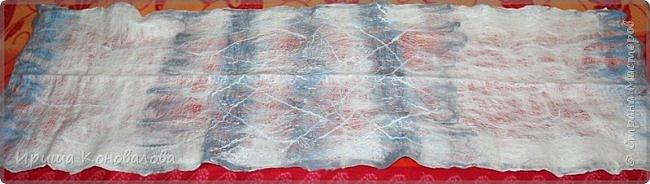 Добрый день, дорогие друзья. Продолжаю тренироваться в валянии. Попробовала рисовать шерстью. Показываю вам, что у меня получилось. Шарфик длиною 175 см и шириной 47 см.  фото 8