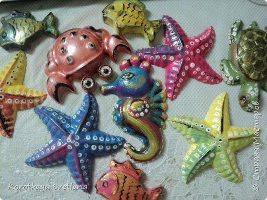 Приветствую всех мастеров Страны мастеров! Вот таких обитателей морей сделала для детского садика. Формочки пластиковые от песочниц. Отливки из гипса. Расписаны акрилом и покрыты акриловым лаком. фото 1