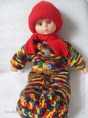 Лето закончилось :( пора утепляться. Внучкиной кукле связала такой осенний комплект. фото 1