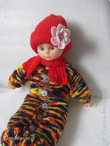 Лето закончилось :( пора утепляться. Внучкиной кукле связала такой осенний комплект. фото 18