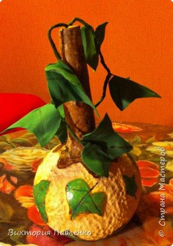 Корзинка из тыквы для конфет. фото 3