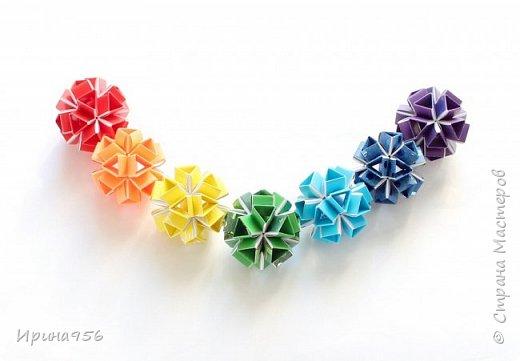 Многогранники Snapology. Snapology - это техника складывания фигур оригами, придумал которую Хайнц Штробл (Heinz Strobl). Техника заключается в том, что многочисленные полосы бумаги сворачиваются в модули, и модули соединяются такими же полосками, образуя разнообразные многогранники. Сборка без клея. МК есть здесь - https://stranamasterov.ru/node/87191 и здесь http://kusuda.ru/kusudamas/snapologiyasnapology (с видео). Больше всего мне нравится такой размер: 20 модулей 1х6 см и 30 модулей 1х4 см. Размер готового многогранника - около 4 см. фото 5