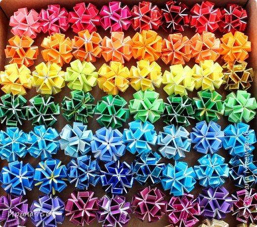 Многогранники Snapology. Snapology - это техника складывания фигур оригами, придумал которую Хайнц Штробл (Heinz Strobl). Техника заключается в том, что многочисленные полосы бумаги сворачиваются в модули, и модули соединяются такими же полосками, образуя разнообразные многогранники. Сборка без клея. МК есть здесь - http://stranamasterov.ru/node/87191 и здесь http://kusuda.ru/kusudamas/snapologiyasnapology (с видео). Больше всего мне нравится такой размер: 20 модулей 1х6 см и 30 модулей 1х4 см. Размер готового многогранника - около 4 см. фото 1