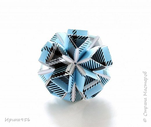 Многогранники Snapology. Snapology - это техника складывания фигур оригами, придумал которую Хайнц Штробл (Heinz Strobl). Техника заключается в том, что многочисленные полосы бумаги сворачиваются в модули, и модули соединяются такими же полосками, образуя разнообразные многогранники. Сборка без клея. МК есть здесь - https://stranamasterov.ru/node/87191 и здесь http://kusuda.ru/kusudamas/snapologiyasnapology (с видео). Больше всего мне нравится такой размер: 20 модулей 1х6 см и 30 модулей 1х4 см. Размер готового многогранника - около 4 см. фото 9