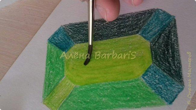 Доброго времени суток!)  Сегодня покажу вам как можно нарисовать объемные камушки. Данный мастер-класс я увидела в инстаграмме, совершенно не запомнив у кого (( решила попробовать, затем конечно показать вам :) В общем нам понадобится бумага, акварельные цветные карандаши, кисточка, вода.  фото 26