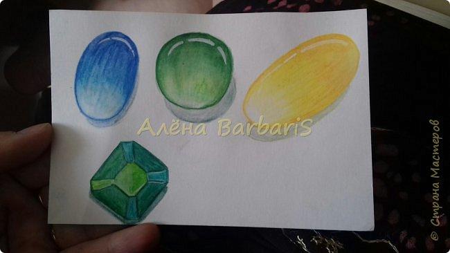 Доброго времени суток!)  Сегодня покажу вам как можно нарисовать объемные камушки. Данный мастер-класс я увидела в инстаграмме, совершенно не запомнив у кого (( решила попробовать, затем конечно показать вам :) В общем нам понадобится бумага, акварельные цветные карандаши, кисточка, вода.  фото 1