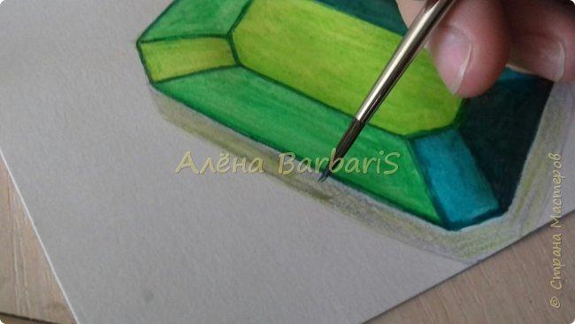 Доброго времени суток!)  Сегодня покажу вам как можно нарисовать объемные камушки. Данный мастер-класс я увидела в инстаграмме, совершенно не запомнив у кого (( решила попробовать, затем конечно показать вам :) В общем нам понадобится бумага, акварельные цветные карандаши, кисточка, вода.  фото 33