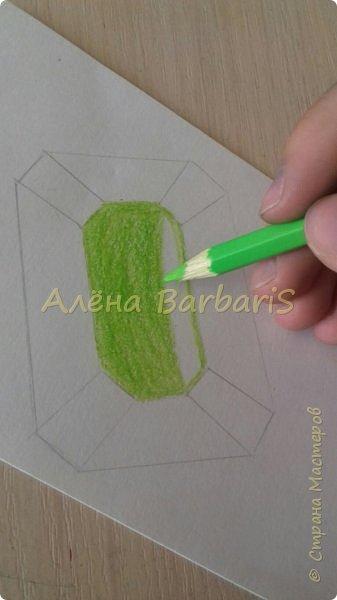 Доброго времени суток!)  Сегодня покажу вам как можно нарисовать объемные камушки. Данный мастер-класс я увидела в инстаграмме, совершенно не запомнив у кого (( решила попробовать, затем конечно показать вам :) В общем нам понадобится бумага, акварельные цветные карандаши, кисточка, вода.  фото 20