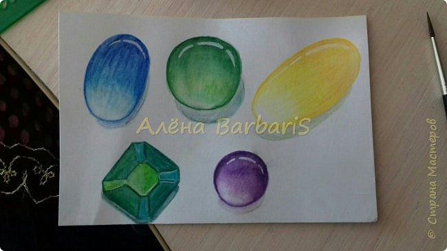 Доброго времени суток!)  Сегодня покажу вам как можно нарисовать объемные камушки. Данный мастер-класс я увидела в инстаграмме, совершенно не запомнив у кого (( решила попробовать, затем конечно показать вам :) В общем нам понадобится бумага, акварельные цветные карандаши, кисточка, вода.  фото 15