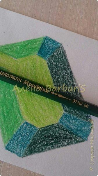Доброго времени суток!)  Сегодня покажу вам как можно нарисовать объемные камушки. Данный мастер-класс я увидела в инстаграмме, совершенно не запомнив у кого (( решила попробовать, затем конечно показать вам :) В общем нам понадобится бумага, акварельные цветные карандаши, кисточка, вода.  фото 24