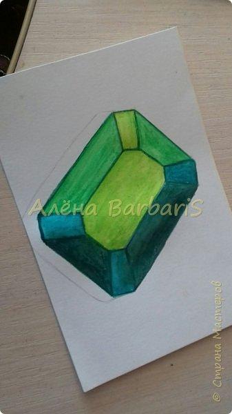 Доброго времени суток!)  Сегодня покажу вам как можно нарисовать объемные камушки. Данный мастер-класс я увидела в инстаграмме, совершенно не запомнив у кого (( решила попробовать, затем конечно показать вам :) В общем нам понадобится бумага, акварельные цветные карандаши, кисточка, вода.  фото 29