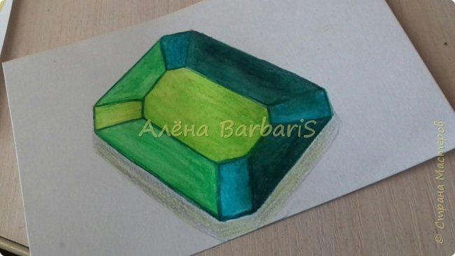 Доброго времени суток!)  Сегодня покажу вам как можно нарисовать объемные камушки. Данный мастер-класс я увидела в инстаграмме, совершенно не запомнив у кого (( решила попробовать, затем конечно показать вам :) В общем нам понадобится бумага, акварельные цветные карандаши, кисточка, вода.  фото 32