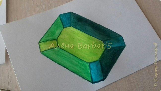 Доброго времени суток!)  Сегодня покажу вам как можно нарисовать объемные камушки. Данный мастер-класс я увидела в инстаграмме, совершенно не запомнив у кого (( решила попробовать, затем конечно показать вам :) В общем нам понадобится бумага, акварельные цветные карандаши, кисточка, вода.  фото 28