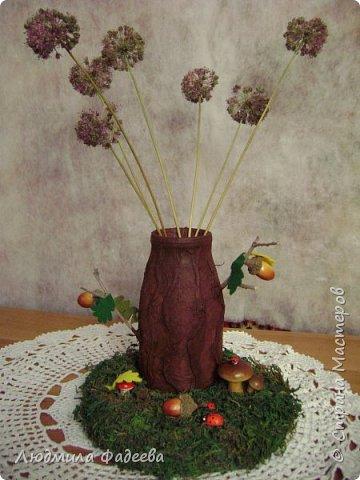 Добрый вечер, дорогие соседи!!! На днях поступил заказ на поделку к празднику Золотая осень. Получилась у меня дерево-ваза. За основу взяла стеклянную баночку, так что ваза функциональная-пригодна как для живых цветов, так и сухоцвета. фото 1
