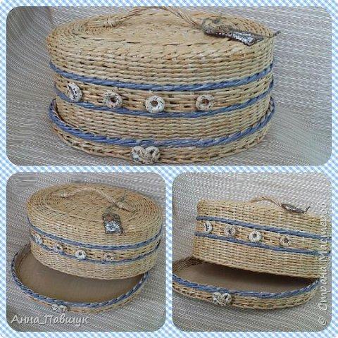 Плетеная чаша-тарелка с ручками. Плетение - обычная веревочка. фото 5