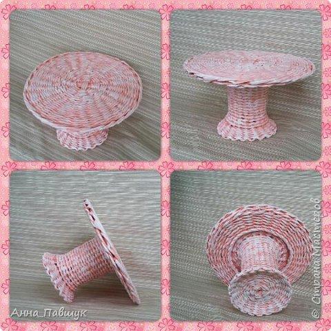 Плетеная чаша-тарелка с ручками. Плетение - обычная веревочка. фото 7