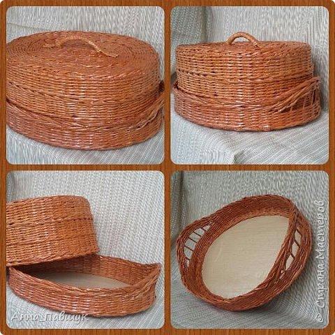 Плетеная чаша-тарелка с ручками. Плетение - обычная веревочка. фото 6