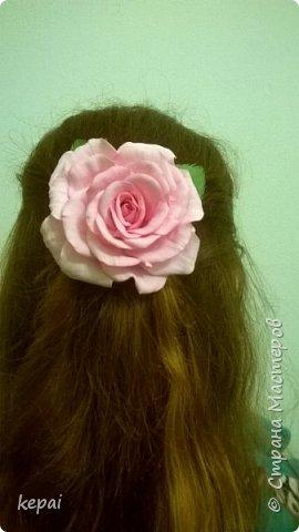 Заколка, роза из фоамирана. фото 1