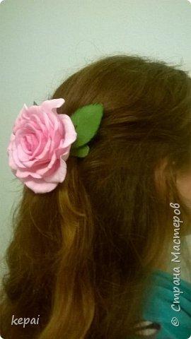 Заколка, роза из фоамирана. фото 2