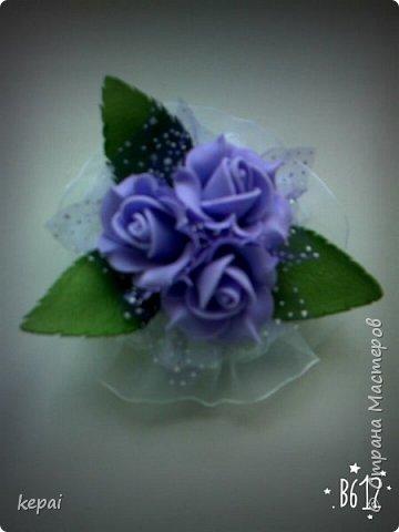 Заколка, роза из фоамирана. фото 3