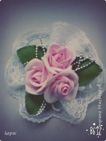 Заколка, роза из фоамирана. фото 5