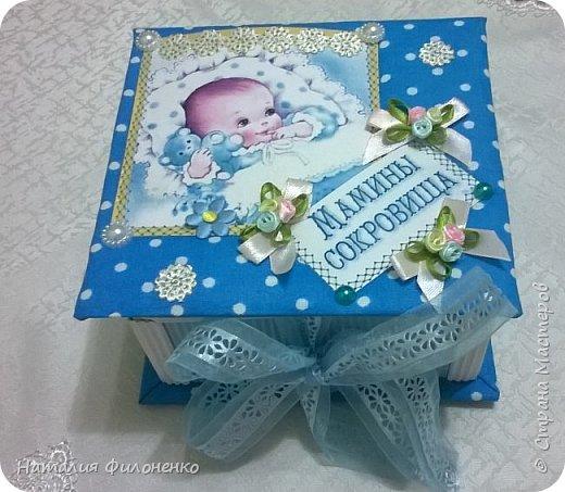 Вот такую коробочку сделала племяннице на рождение сыночка. Фото с телефона не передает сочность красок, но мне хотелось поделиться с вами своим изделием. фото 1