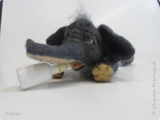 Здравствуйте жители СМ! Сегодня хочу показать слоненка, сероглазого малыша в розовых трусах. Выполнен в технике сухого валяния, глаза из полимерной глины расписаны вручную акрилом. Хобот на проволочном каркасе, можно гнуть. фото 5
