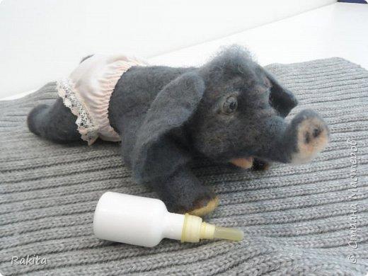 Здравствуйте жители СМ! Сегодня хочу показать слоненка, сероглазого малыша в розовых трусах. Выполнен в технике сухого валяния, глаза из полимерной глины расписаны вручную акрилом. Хобот на проволочном каркасе, можно гнуть. фото 3