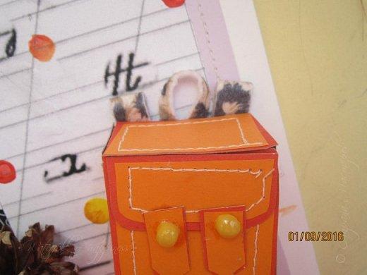 Здравствуйте! Сегодня (Хоть и поздновато) покажу открытку, подаренную учительнице. Работа делалась около 2-х часов.  За основу брала бумагу для черчения, так как она по толщине схожа с картоном и у неё как спереди так и сзади белый цвет. Основа состоит из 3 слоёв, вторым из которых был цветной лист сиреневого цвета. Его я пришивала на швейной машинке. Для третьего слоя я взяла специальную распечатку и приклеила её (Делала сама в Аватане, добавлю внизу) фото 6