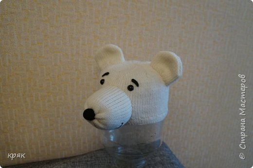 Шапочка-маска белый мишка