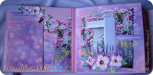 """Добрый день, дорогие соседи! С пылу, с жару показываю Вам альбомчик """"Цветущий сад"""" на 40 фотографий и даже больше можно уместить. Альбом 20х20 см. Сделала по заказу подруги для подарка преподавательнице  колледжа, где работаю. К альбому сделала очень быструю открытку.  Что получилось - смотрим.  фото 7"""
