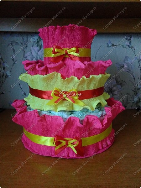 Здравствуйте,друзья! Рада приветствовать вас у себя в гостях!Сегодня я к вам с памперсным тортиком!Давно хотелось сделать тортик ,но не представлялся случай. фото 1