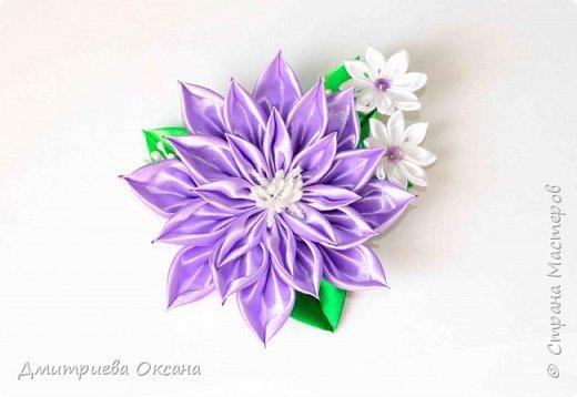 Мастер-класс Канзаши. Цветок Канзаши из атласных лент. фото 2