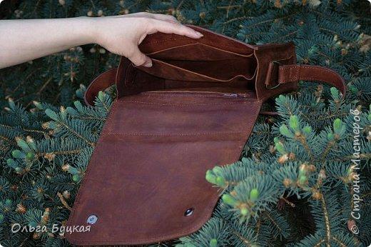 """Здравствуйте! Вот такую сумочку из натуральной кожи """"крейзи хорс"""" с накладкой из меди в технике  wire wrap я сделала. фото 2"""