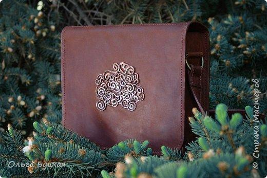 """Здравствуйте! Вот такую сумочку из натуральной кожи """"крейзи хорс"""" с накладкой из меди в технике  wire wrap я сделала. фото 1"""