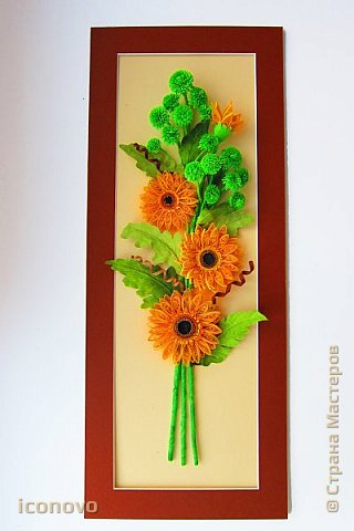 Т.к. в СМ много разных гербер, то остановлюсь на веточке хризантемы и листьях. фото 1