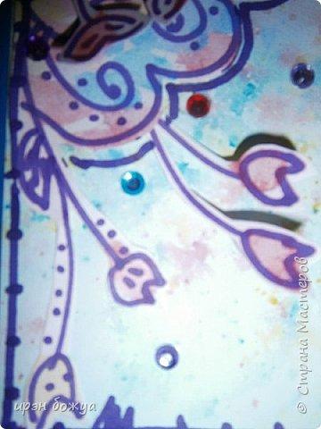 Посмотрев в СМ создание открытки  http://stranamasterov.ru/node/1046052?c=favorite ,руки зачесались сделать такую же. Но черного тонкого маркера не было под рукой,воспользовалась другим. Вместо пайеток у меня стразы. Родня сказали детский сад какой-то. А мне нравиться. Куплю черный маркер и сделаю еще таких. Очень понравилось делать. фото 8