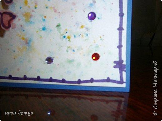 Посмотрев в СМ создание открытки  http://stranamasterov.ru/node/1046052?c=favorite ,руки зачесались сделать такую же. Но черного тонкого маркера не было под рукой,воспользовалась другим. Вместо пайеток у меня стразы. Родня сказали детский сад какой-то. А мне нравиться. Куплю черный маркер и сделаю еще таких. Очень понравилось делать. фото 11