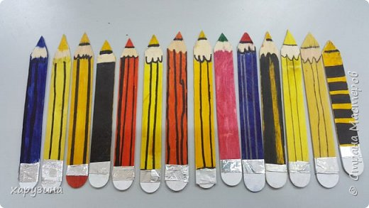 Закладки - карандашики из палочек от мороженого