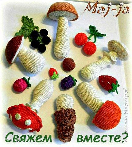Игровой набор Грибное лукошко с набором вязаных грибочков. Такое развивающее пособие вы сможете создать своими руками. фото 1
