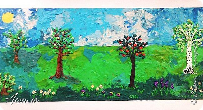 """Лето уходит, но остаются тёплые воспоминания о солнечных летних днях. Эта пластилиновая картина была создана детьми подготовительной группы в рамках проекта """"Деревья нашего участка"""" и явилась итогом того, что дети узнали. фото 1"""