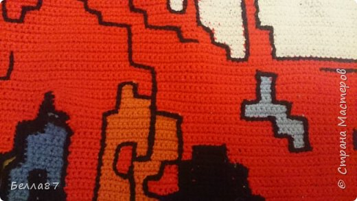 Вот такой вот коврик в детскую сыну я связала крючком.  Размер примерно 100 см на 65 см фото 3
